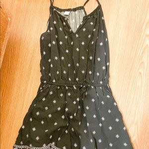 Black and white patterned romper.